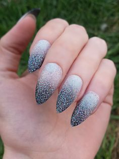 Black and White Ombré Stiletto Nails by Ostoksia on Etsy