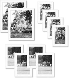 ImagesPrinted 8x10 Black Picture Frame Set 4 Pack with Glass Front Poster Document Frames Flat Modern Finish