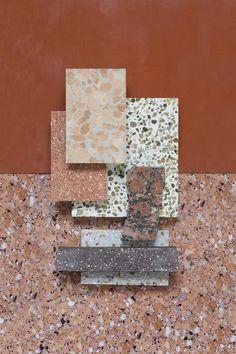Material Mood Of The Week ~ Terracotta Shades & Warm Sand Material Mood Of The Week ~ Beachy Colors & Marble #interiordesign #design #inspiration #materials #colors #terracotta #terrazzo #stonecycling #orange #layering #summer #colorsscheme #samples #materialmood #moodboard #studiodavidthulstrup