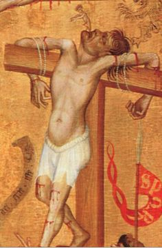 Oberrheinischer Meister, detail from Crucifixion with a Dominican Friar