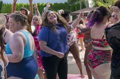 """Aidy Bryant, Lolly Adefope, and Lindy West break down the empowering pool scene in Shrill on Hulu. """"There were hundreds of fat women in bikinis hugging and dancing,"""" West said. Aidy Bryant, Female Trainers, Jennifer Carpenter, Body Positivity, Party Scene, Fat Women, Plus Size Swimwear, Best Tv Shows, Dexter"""