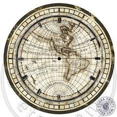 Antique Map DIY 2 Large Clock Faces 12 Digital by CobraPrints