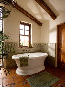 Could screw down squares of inch plywood to floor. then put mosaic tile between squares. Adobe Ranch - mediterranean bathroom - color scheme: muted greens & terra cotta with woods & stand alone tub. Spanish Style Bathrooms, Spanish Bathroom, Spanish Style Homes, Spanish Revival, Spanish Colonial, Mediterranean Bathroom Design Ideas, Mediterranean Home Decor, Mediterranean Recipes, Dream Bathrooms