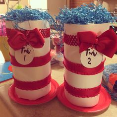 Dr. Suess Diaper cake for twins!