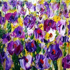 Oil on Canvas CROCUS Flowers Abstract Spring Floral by LUIZAVIZOLI