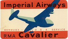 Luggage label for Imperial Airways, circa 1938