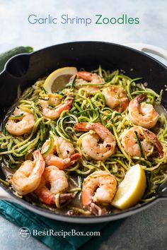 Low Carb Zucchini Noodles with Garlic Shrimp are easy, quick, healthy. This is a fantastic garlic shrimp zucchini noodles recipe low carb, paleo zoodles Best Zucchini Noodles Recipe, Healthy Zucchini, Chicken Zucchini, Shrimp Scampi Zoodles, Clean Recipes, Healthy Recipes, Raw Recipes, Healthy Dishes, Healthy Meals