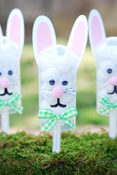 "Easter Bunny Push Pops fill with jelly beans and other candies instead of an Easter basket. Maybe even hide them and do a different take on an Easter egg hunt. Call ""Find the Rabbit/Bunny"" or maybe ""Bunny Hunt"""