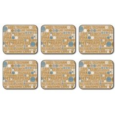 New Zealand Simply New Zealand Coasters - Set of 6 | Table Wear ...