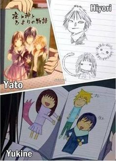 Noragami ~~ Not all three of them share artistic skill, yet these portraits of the trio are all precious.