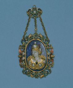 Northern European :    Pendant with Pearl Figure, late 16th.    Gold, enamel, lapis lazuli, and pearl