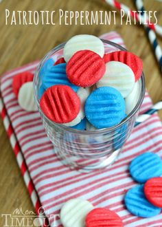 Red, White and Blue Peppermint Patties from MomOnTimeout.com - You pick the color and flavor!  These patties are super easy to prepare and taste delicious!
