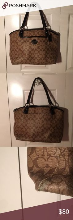 Coach tote like new condition This bag is super Functional. It shows a very little bit of where on the corners but other than that there is none. There aren't any stains and is in really good condition. Straps look black but they are brown. Comes from a smoke free pet free home. Open to offers. If you have any questions let me know! Coach Bags Totes