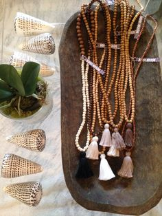 wood beads and tassel necklaces