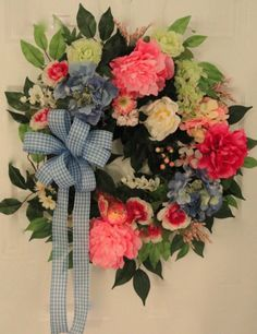 Front Door Spring Wreath with Large Pink by MarysBluebirdWreaths, $89.50