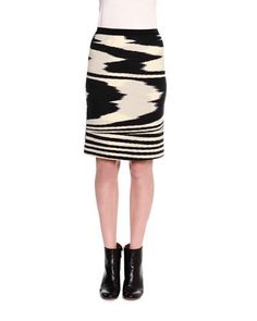 MISSONI PRINTED PENCIL ABOVE-KNEE SKIRT, BLACK/WHITE. #missoni #cloth #