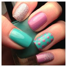 Nail art is a very popular trend these days and every woman you meet seems to have beautiful nails. It used to be that women would just go get a manicure or pedicure to get their nails trimmed and shaped with just a few coats of plain nail polish. Diy Nails, Glitter Nails, Teal Nails, Purple Glitter, Stiletto Nails, Pink Purple, Leopard Nails, Matte Pink, Nail Manicure