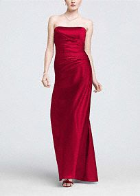 This elegant satin ball gown is simple yet stunning, and the classic silhouette will flatter any figure.  Ruched bodice creates feminine curves.  Simplicity of the strapless neckline offers a beautiful contrast to the drama of the gown.  Rich satin fabric radiates a gorgeous sheen.  A- Line Silhouette.  Fully lined. Back zip. Imported polyester. Dry clean only.  Available in our exclusive 42 color palette.  Get inspired by our colors.