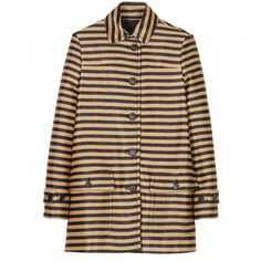 Burberry Prorsum Raffia Woven Striped Coat ($1,069) ❤ liked on Polyvore