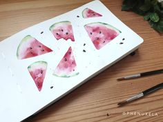 Beautiful watercolor pattern for beginners. It was so much fun to create this summer fruit illustration in my sketchbook and experiment with the paint. I really like the textures of the watermelon slices - they make it look fresh and delicious. I often finish my paintings with splatters in the background. If you would like to learn painting with watercolors - colorful patterns are a great point to start. #watercolor #watercolorillustration #summerfruit #painting #sketch #sketchbook… Learn Painting, Learn To Paint, Fruit Illustration, Watercolor Illustration, Watercolors, Watercolor Paintings, Watermelon Slices, Watercolor Pattern, Summer Fruit