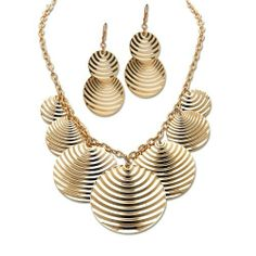 PalmBeach Jewelry Goldtone Metal Multi-Disk Necklace and Pierced Earring Set Toscana. $34.99