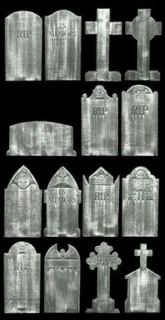 Tombstone shapes --an article on turning a piece of foam into a creepy grave stone for Halloween. Halloween Outside, Outdoor Halloween, Holidays Halloween, Tombstones For Halloween, Diy Halloween Graveyard, Halloween Costumes, Manualidades Halloween, Adornos Halloween, Halloween Stuff