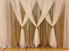 Great Arrangement / Silver fabric for background & white chiffon for decor