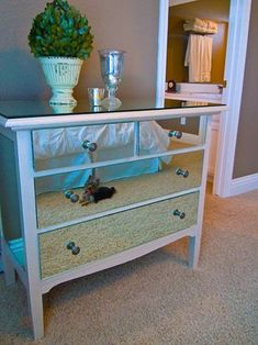 Ever wonder what to do with that huge builder bathroom mirror you took down?  Get it cut, and put it on your dresser for a gorgeous mirrored look.
