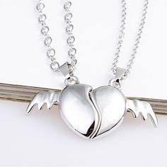 Lovely Angel's Wing Match Heart Pendants Alloy Gold Plated Lover's Necklaces (Price For a Pair)  - USD $49.95