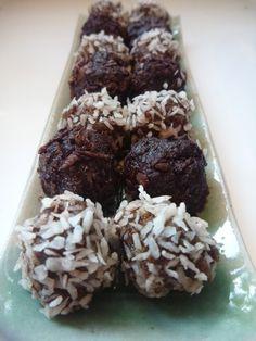 """""""Raw"""" Truffles - A sweet but healthy bite. No refined sugar or dairy. http://www.smokinhotmom.com/?p=2693"""