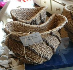This is the first pine needle woven, and coiled, sculptural wedding vase I ever did.  It was finished in 2006 as a wedding present for a dear friend.