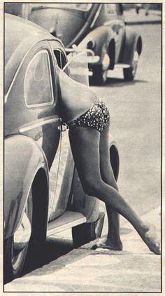 60's | sexy | ass | woman | curves | bikini | summer | beetle | volkswagon | car | retro | chat | bare feet | cute