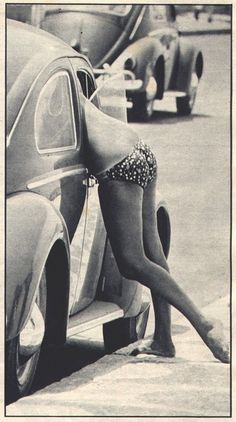 60's | sexy | ass | woman | curves | bikini | summer | beetle | volkswagon | car | retro | chat | bare feet | cute
