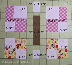 The butterfly corners was the most requested of all the options given in the original post about the Podunk Posy quilt. I must admi. Big Block Quilts, Strip Quilts, Easy Quilts, Mini Quilts, Quilt Blocks, Quilt Square Patterns, Quilt Block Patterns, Pattern Blocks, Square Quilt