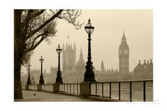 Big Ben And Houses Of Parliament, London In Fog Posters by tombaky at AllPosters.com