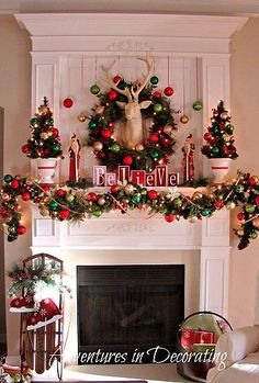 Christmas mantel decor - deer wreath, ice skates hanging on sled...