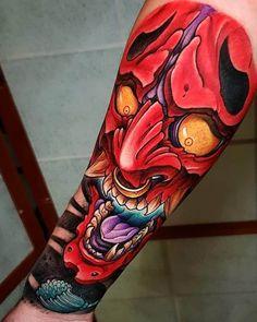 Japanese Demon Tattoo, Japanese Tattoos For Men, Traditional Japanese Tattoos, Japanese Tattoo Designs, Japanese Sleeve Tattoos, Hanya Mask Tattoo, Oni Tattoo, Samurai Mask Tattoo, Mascara Hannya