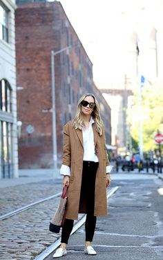 Fall Style: Camel Coat & White Loafers