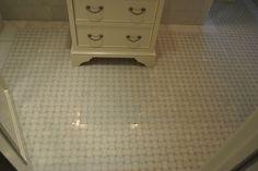 white and tan basketweave floor