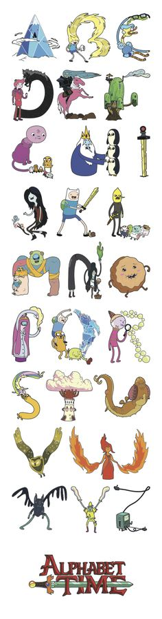 This is how I'm teaching the alphabet to my kids! Adventure Time Alphabet by Jobi Gutierrez Adventure Time Parties, Adventure Time Art, Cartoon Network, Marceline, Cadena Cartoon, Abenteuerzeit Mit Finn Und Jake, Finn Jake, Adveture Time, Finn The Human