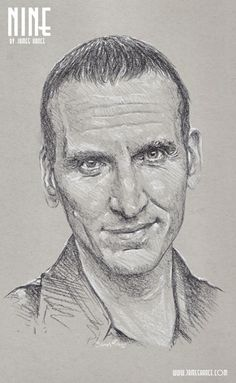 'Nine' (Doctor Who - Charcoal)  Presenting your Ninth Doctor - the fantastic Christopher Eccleston! - by James Hance