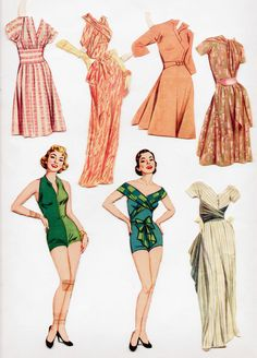 Vintage Whitman 2067 Claire McCardell Paper Dolls 1956 Cut | eBay