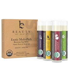 Lip Balm, USDA Organic, Exotic Flavors (4 Pack), Natural Beeswax, Lip Butter with Aloe Vera, Vitamin E, Repair Dry Chapped Cracked Lips, Made in USA (Green Tea, Asian Pear, Pomegranate, Acai Berry)