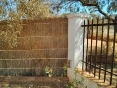 Natural privacy screening applied to plain old fence to give character and control wind coming down the hill. It's plain grass with reed backing.