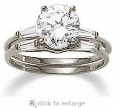 Cubic Zirconia 2.5 Carat 9mm Round Brilliant Baguette Solitaire With Matching Band by Ziamond.  The Round Baguette Solitaire series features a variety of carat sizes and shapes for every lifestyle.  $1095 #ziamond #cubiczirconia #cz #jewelry #diamond #ring #solitaire #weddingset #bridalset