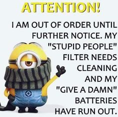 My Stupid People Filter Needs Cleaning funny quotes quote crazy funny quote funny quotes funny sayings humor minion minions minion quotes Minion Humour, Funny Minion Memes, Minions Quotes, Funny Jokes, Funny Sayings, Minions Pics, Minion Pictures, Minion Love Quotes, Minion Stuff