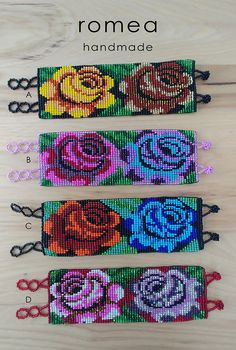 Items similar to Mexican Beaded Bracelets - flower Pattern - Huichol Art - Romea Accessories - Jewelry - Chaquiras on Etsy Bead Loom Patterns, Beading Patterns, Cross Stitch Patterns, Crochet Patterns, Seed Bead Flowers, Beaded Flowers, Cross Stitch Rose, Cross Stitch Flowers, Beaded Embroidery