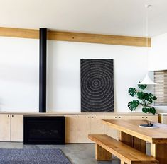 Such a gorgeous space designed by found via I love seeing Gubi's Semi pendant working so nicely here. Shout out to the Monstrera Plant.adding a pop of color and charm. Australian Architecture, Color Pop, Kitchen Dining, Entryway, Space, Interior Design, Furniture, Beautiful, Joinery