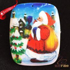 HAND PAINTED CHRISTMAS SANTA NATURAL WHITE GEMSTONE NECKLACE PENDANT ZH20 00385 #ZL #Pendant
