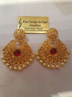 Silver Ring With Cubic Zirconia Info: 6483803189 Jumka Earrings, Gold Jhumka Earrings, Indian Jewelry Earrings, Gold Earrings Designs, Gold Jewellery Design, Bridal Jewelry, Silver Necklaces, Silver Jewelry, Jewelry Rings